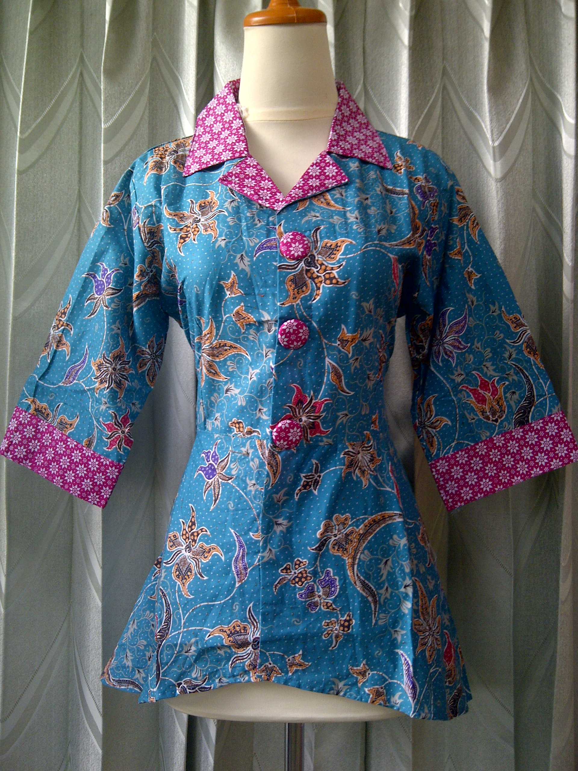Blus batik blus batik kerja kode bk lolita grosir Baju gamis batik hijau tosca
